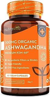 Ashwagandha Orgánica 500mg - Alta Calidad KSM-66 Sin Excipientes - 100% Natural Cápsulas Veganas - Suplemento de Ayurvédico de Withania Somnifera (Ginseng Indio) - Hecho en el RU por Nutravita