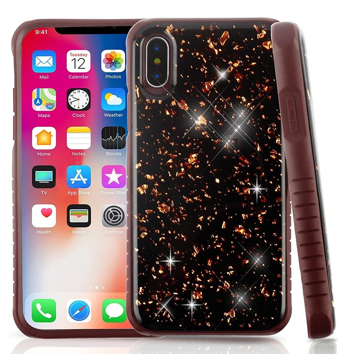 宝石空白サンドイッチiPhone xケース、MYBAT Flakesデュアルレイヤ[衝撃吸収]保護ハイブリッドPC / TPUラバーケースカバーfor Apple iPhone X 2399658