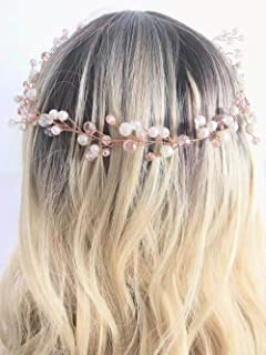 Aegenacess Rose Gold Wedding Headband Long Hair Vine Baby Breath Crystal Blush Crown Tiara Halo Bridal Hair Accessories Hairpieces for Brides and Bridesmaids Women and Girls -15.7in