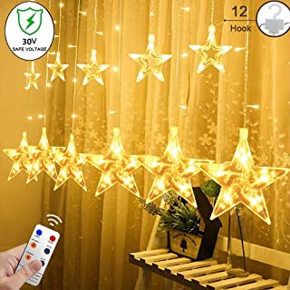 YINUO LIGHT 12 Stars Curtain String Lights with Remote and Hanging Hook, 138 LED Decoration Lights for Indoor/Outdoor, 8 Flashing Modes Fairy Lights for Bedroom, Christmas Tree, Holiday, Warm White