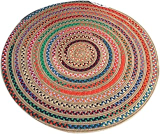 Round Meditation Cushion/Hand-Woven Circular Carpet/Round Yoga Mat/Meditation Mat/Fitness Exercise Mat/Home Mat,Cotton and...