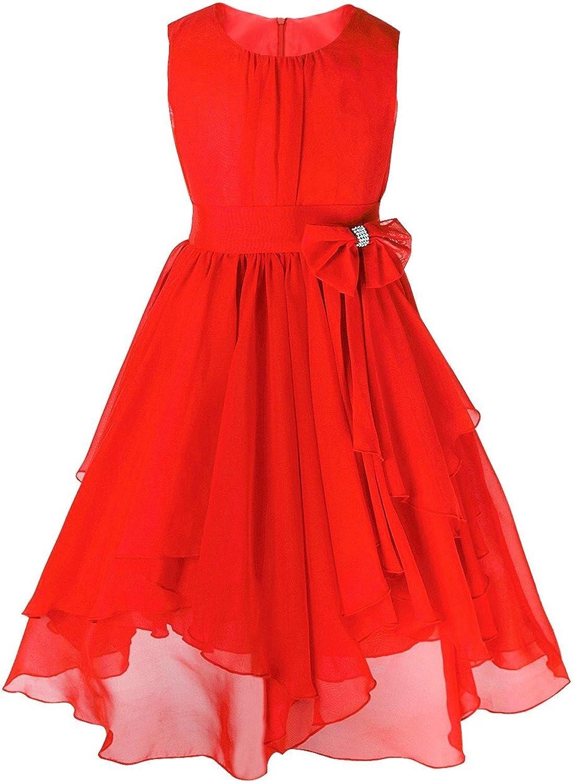 FEESHOW Kids Big Girl Asymmetric Chiffon Flower Wedding Bridesmaid Party Dress