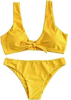 Women's Sexy Bikini Swimsuit Tie Knot Front Swimwear Set