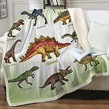 WONGS BEDDING Dinosaur Throw Blanket Reversible Warm Sherpa Fleece Blanket for Bed Kids Boys 3D Jurassic Printed Blanket Cartoon Bed Blanket Throw 5060 inches