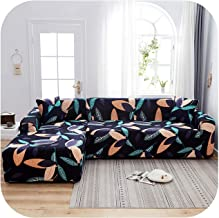 Elastic Plaid Print Corner Sofa Cover Stretch Sectional Corner L-Shape Sofa Cover Must Order 2Pieces to Fit for Corner Sof...