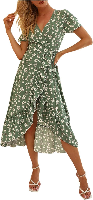 Womens Dresses, Women's Bohemian Floral Printed Wrap V Neck Short Sleeve Split Beach Party Midi Dress