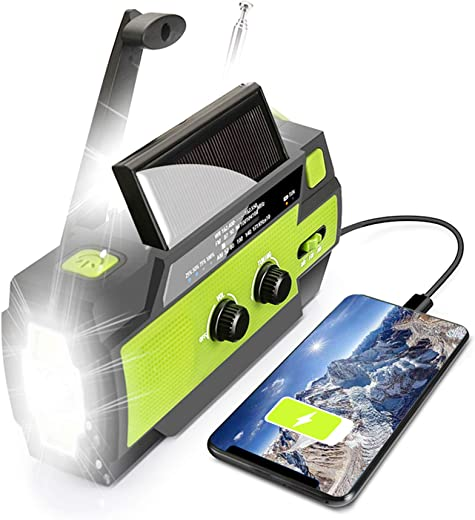 【2021 Upgraded】 Emergency Solar Hand Crank Portable Weather Radio, with AM FM NOAA, 3 LED Flashlights, Motion Sensor, Reading Lamp, SOS Alarm, 4000mAH Rechargeable Battery USB Charger (Green)