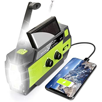 【2020 Upgraded】 Emergency Solar Hand Crank Portable Weather Radio, with AM/FM/WB, 3 LED Flashlights, Motion Sensor, Reading Lamp, SOS Alarm, 4000mAH Rechargeable Battery USB Charger for Cell Phone