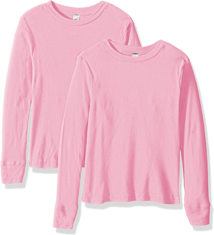 Kitu Girls' Big Baby Rib Pajama Top-2 Pack, Pink, 14