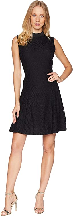 Knit Abstract Lace Tie Neck Dress