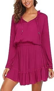 ACEVOG Women's Long Sleeve V-Neck Solid Color Casual Short Party Dresses