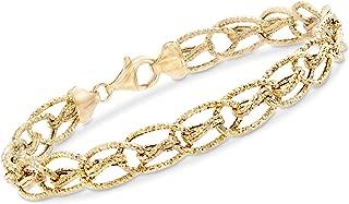 Ross-Simons 14kt Yellow Gold Textured Oval Interlocking Link Bracelet
