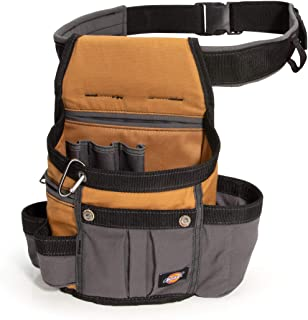 Dickies 8-Pocket Padded Tool Belt/Utility Pouch, Adjustable 3-Inch Belt, Durable Canvas Construction, Tan/Grey