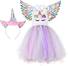 Halloween Unicorn Costumes for Girls with Headband and Wings