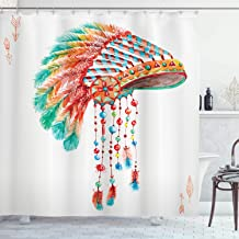 Ambesonne American Shower Curtain, Watercolor Tribal Native Chief Headdress with Feathers Beads Arrow Figures Print, Cloth Fabric Bathroom Decor Set with Hooks, 84 Long Extra, Orange Blue
