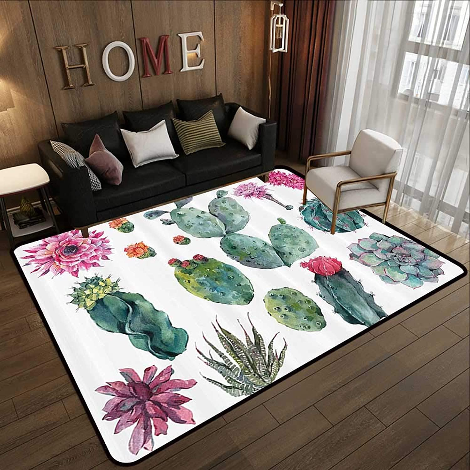 Kids Rugs,Nature Decor,Desert Botanic Herbal Cartoon Like Cactus Plant Flower with Spikes Print,Green and Pink 47 x 59  Slip-Resistant Washable Entrance Doormat