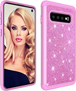 Berry Accessory Galaxy S10 Case,Samsung S10 Glitter Case,Luxury Glitter Sparkle Bling Case,Hybrid PC Silicone Faux Leather Cover,Dual Layer Armor Protective Phone Case for Samsung Galaxy S10 Black