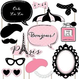 Big Dot of Happiness Paris, Ooh La La - Paris Themed Photo Booth Props Kit - 20 Count