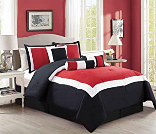 5 Piece Oversize Burgundy Red/Black/White Color Block Comforter Set 54