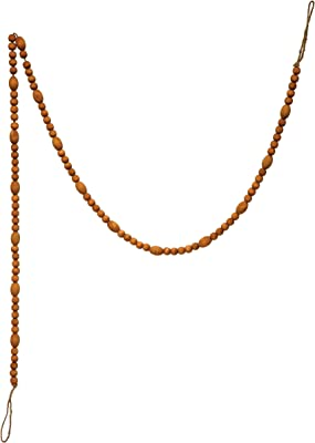 """Creative Co-Op 72"""" L Paulownia Bead, Caramel Color Stained Finish Wood Garlands, Multi"""