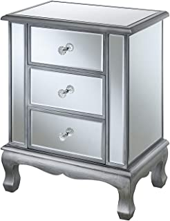Convenience Concepts Gold Coast Accent End Table, Antique Silver/Mirror