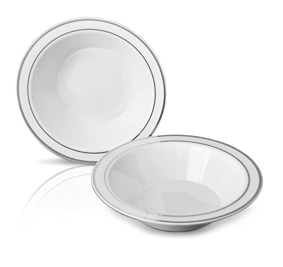 OCCASIONS 120 PACK, Heavyweight Disposable Wedding Party Plastic Bowls (14oz Soup Bowl, White/Silver Rim)