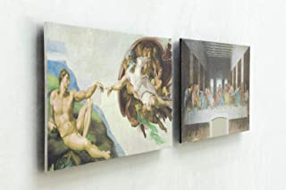 3D Textured Floating Art Set of 2, The Last Supper by Leonardo da Vinci & The Creation of Man by Michelangelo Ready to Han...