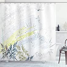 Ambesonne Country Decor Collection, Wild Herb Grass Field Distressed Background with Dragonflies Deep Lifestyle Graphic Work, Polyester Fabric Bathroom Shower Curtain, 75 Inches Long, Grey Green