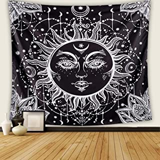 "Letsroam 2 Sun and Moon Psychedelic Black and White Celestial Indian Bohemian Hippy Mandala Tapestry Dorm Decor Wall Hangings for Bedroom Living Room, 51.2""x59.1, Face"