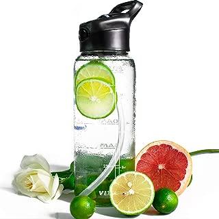 32 OZ Glass Water Bottle with Straw,Motivational Water Bottle with Time Marker,1 Liter Glass Water Bottle BPA Free Water Bottles Flip Top Leak-proof Sports Water Bottle Wide Mouth Smart Water Bottle