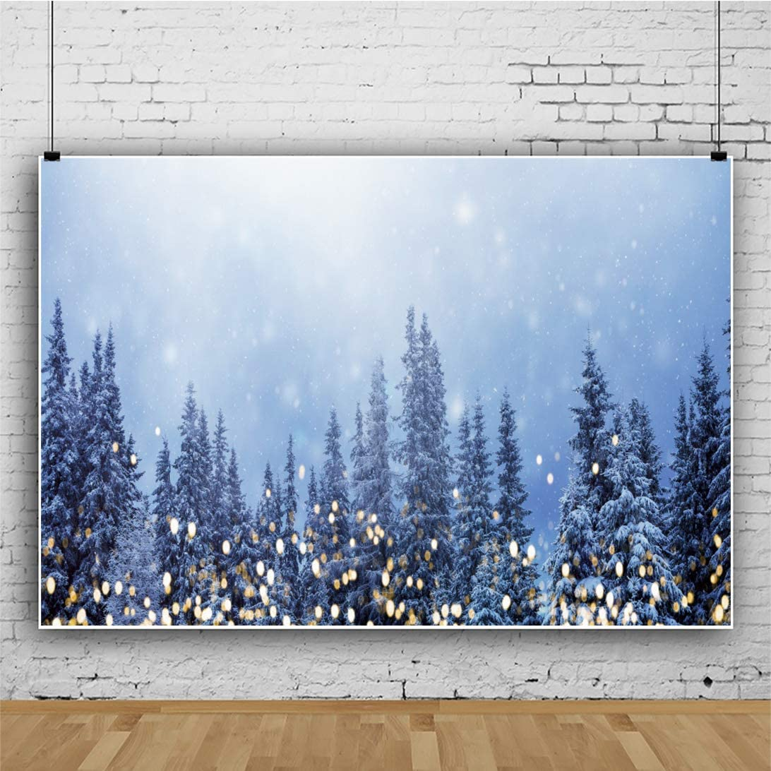 OERJU 15x10ft Winter World Backdrop Yellow Light Halos Frozen Forest Background Thanksgiving Day Decorations Merry Christmas Supplies Happy New Year Family Portrait Baby Shower Photo Studio Props