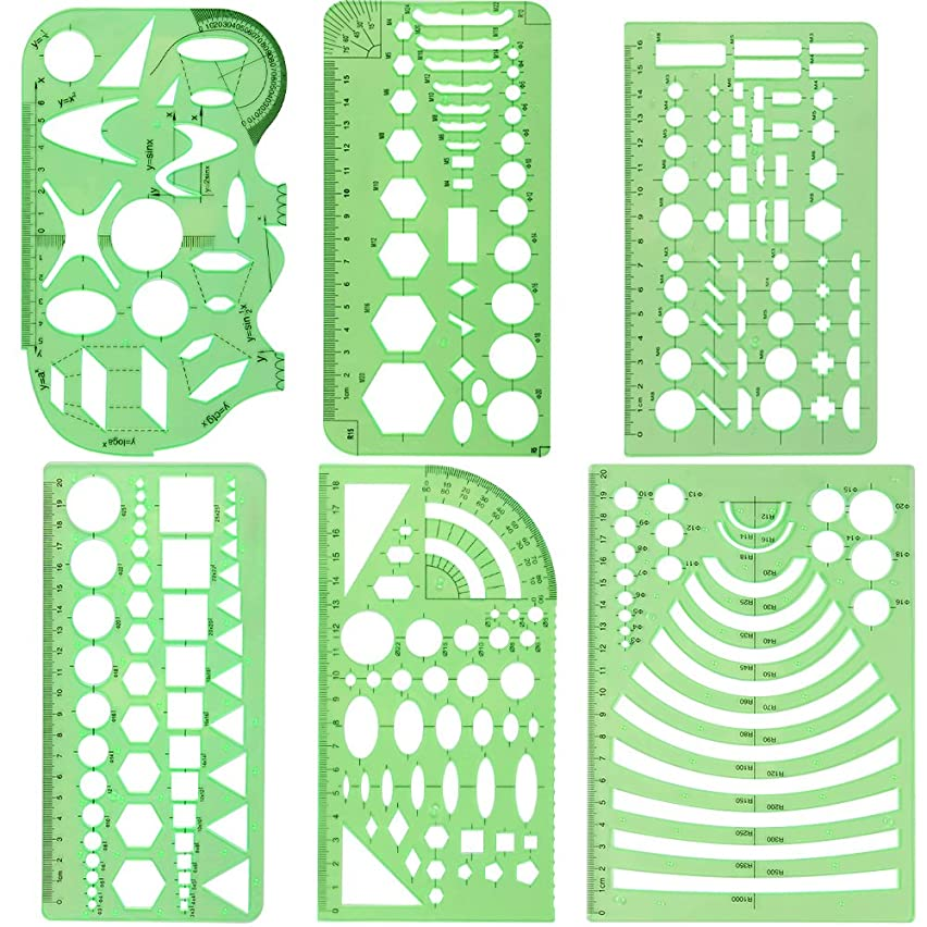 URlighting Measuring Templates (6 Pcs) Plastic Geometry Stencils Template Geometric Rulers Stationary Tool Kit for Office and School, Building Formwork, Drawings Drafting Templates