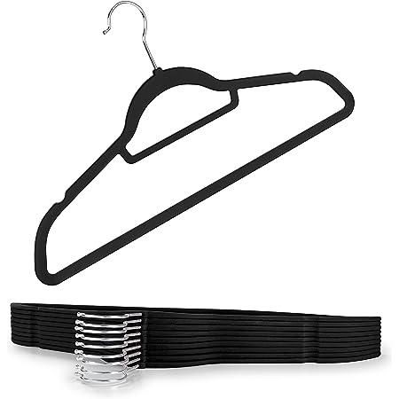 Blumtal Lot de 100 cintres antidérapants Aspect Velours – Peu encombrants Haut de Gamme avec Pince à Cravate, Rotation à 360°, Noir