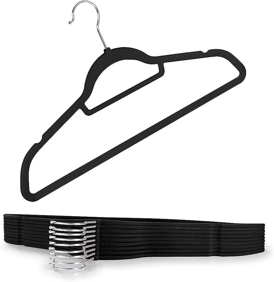 Blumtal 30 Stück rutschfeste Kleiderbügel Samtoptik - Platzsparende, Premium Bügel inkl. Krawattenhalter, 360° drehbar, Schwarz