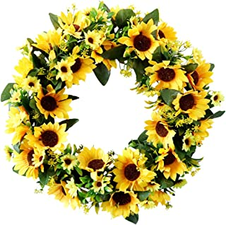 """HEBE 18"""" Artificial Sunflower Summer Wreath Fake Flower Wreath with Yellow Sunflower Green Leaves for Front Door Hanging F..."""