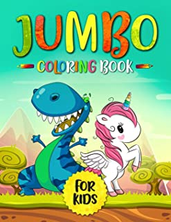 Jumbo Coloring Book for Kids: Dinosaurs and Unicorns (80 Coloring Pages)