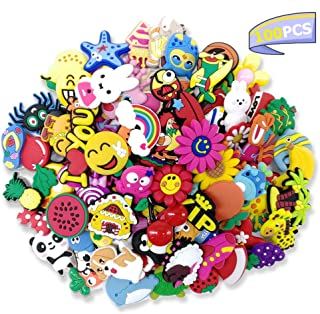 100 Pcs Different Shape Shoe Charms for Croc Shoes & Wristband Bracelet,Gift for Kids and Teens