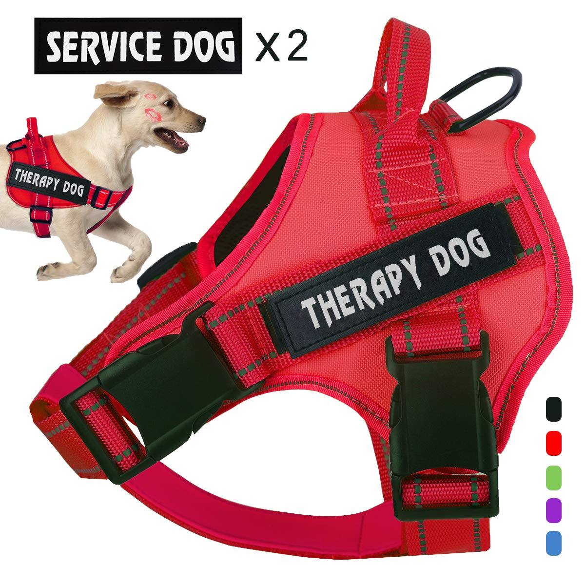 voopet No Pull Service Dog Harness,Therapy Dog Vest Harness with Reflective Straps,Lightweight Breathable and Adjustable Pet Halters,Easy On and Off Pet Vest Harness for Small Medium Large Dogs