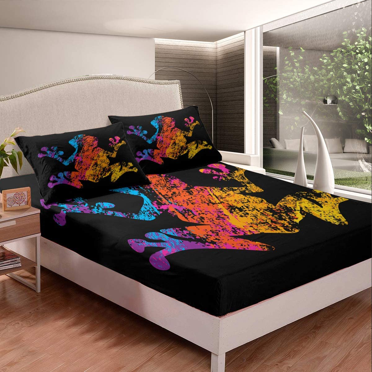 Castle Fairy Color Frog Dyeing Milwaukee Mall Bed B Ultra Black Soft Full Max 62% OFF Sheet