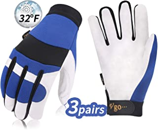 Vgo 3Pairs 32℉ or above 3M Thinsulate C40 Lined Pigskin Leather Warm Winter Cold Storage Frozen Safety Working Gloves(Size XL,Blue,PA7620F)