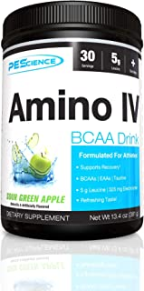 PEScience Amino IV, Sour Green Apple, 60 Scoop, BCAA and EAA Powder with Electrolytes