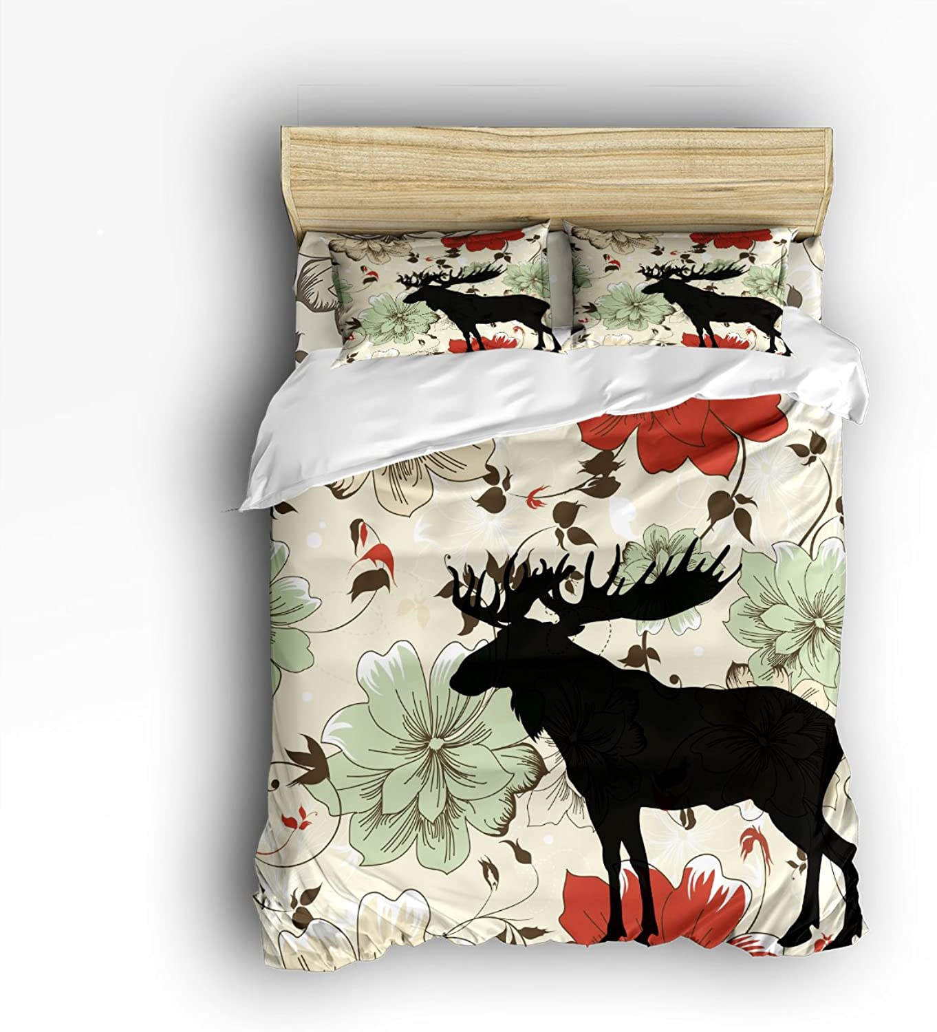 Libaoge 4 Piece Bed Sheets Set, Deer Silhouette with Retro Flowers Floral Print, 1 Flat Sheet 1 Duvet Cover and 2 Pillow Cases