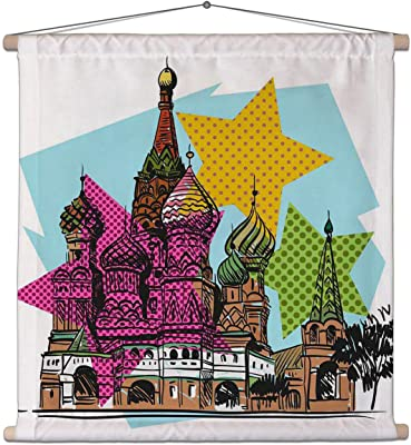 ArtzFolio Saint Basil's Cathedral Church Canvas Painting Tapestry Scroll Art Hanging 30 X 30Inch