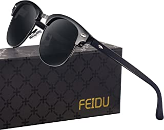 FEIDU Retro Polarized Clubmaster Sunglasses for Men Half...