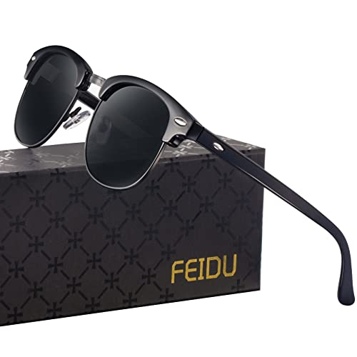 6417b5a96c FEIDU Retro Polarized Clubmaster Sunglasses for Men Half Metal Women FD3030