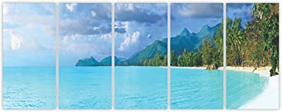 "PPD Multiple Frames Wall Art Panels Sunboard Frame Printed Beach Wall Art Painting - 5 Frames (25"" x 10"")"