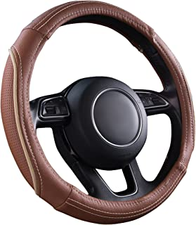 CAR PASS Line Rider Universal Fit Delux Leather Steering Wheel Cover, for suvs,sedans,Vans,Trucks(Caynne)