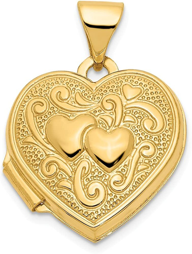 Max 65% OFF 14k Yellow Gold Double Heart Photo Charm Complete Free Shipping Locket Pendant Ne Chain