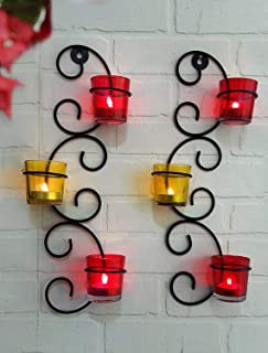 TIED RIBBONS Set of 2 Wall Hanging Tealight Candle Holder Metal Wall Sconce with Glass Cups and Tealight Candles for Home ...
