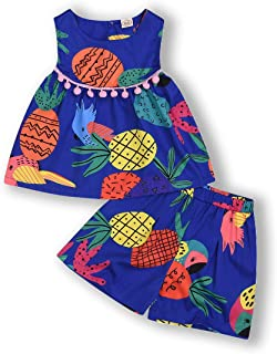 YOUNGER TREE Toddler Baby Girls Fly Sleeve Cute Pineapple Print Shirt Tops Ruffle Shorts 2PCS Summer Outfits Set